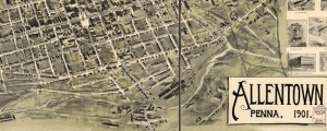 Allentown, Penna. 1901. Birdseye map of Allentown, Pennsylvania (1900) Date: 1901 Author: Landis and Alsop Dwnld: Full Size (28.90mb) Source: Library of Congress Print Availability: See our Prints Page for more details pff This map isn't part of any series, but we have other maps of Pennsylvania that you might want to check out. Landis and Alsop's birdseye map of Allentown, Pennsylvania [gmap] in 1901. For more map resources and imagery...