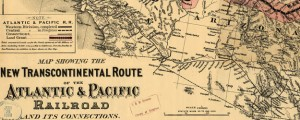 Map showing the new transcontinental route of the Atlantic &amp; Pacific Railroad and its connections Map of the Atlantic-Pacific Railroad and Connections (1883) Date: 1883 Author: GW and CB Colton and Co Dwnld: Full Size (14.90mb) Source: Library of Congress Print Availability: See our Prints Page for more details pff This map isn&#039;t part of any series, but we have other maps of railroads that you might want to check...