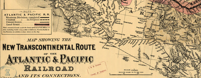 Map showing the new transcontinental route of the Atlantic & Pacific Railroad and its connections Map of the Atlantic-Pacific Railroad and Connections (1883) Date: 1883 Author: GW and CB Colton and Co Dwnld: Full Size (14.90mb) Source: Library of Congress Print Availability: See our Prints Page for more details pff This map isn't part of any series, but we have other maps of railroads that you might want to check...