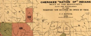 "Map of the former territorial limits of the Cherokee ""Nation of"" Indians Map of the Former Territorial Limits of the Cherokee Nation (1884) Date: 1884 Author: C C Royce Dwnld: Full Size (6.33mb) Source: Library of Congress Print Availability: See our Prints Page for more details pff This map isn't part of any series, but we have other maps of American Indian lands that you might want to check out...."