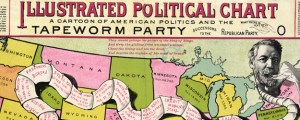 Illustrated political chart, a cartoon of American politics and the Tapeworm Party The Tapeworm Party - U.S. Politics (1888) Date: 1888 Author: A B Graham Dwnld: Full Size (8.50mb) Source: Library of Congress Print Availability: See our Prints Page for more details pff This map isn't part of any series, but we have other political maps that you might want to check out. Tapeworm humor just killed in the late-19th...