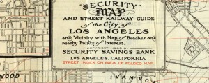 "1908 security savings bank map of Los Angeles Security map of Los Angeles (1908) Date: 1908 Author: J. Henry Wood Dwnld: Full Size (18.85mb) Source: Flickr user ""gsjansen"" Print Availability: See our Prints Page for more details pff This map isn't part of any series, but we have other maps of Southern California that you might want to check out. J. Henry Wood's Security Savings Bank map of Los Angeles,..."