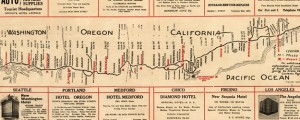 Western motor car route guide. Map of west coast roads (1915) Date: 1915 Author: unknown Dwnld: Full Size (3.41mb) Source: Library of Congress Print Availability: See our Prints Page for more details pff This map isn't part of any series, but we have other maps of the West Coast that you might want to check out. Map of the roads of the U.S.'s west coast in 1915.