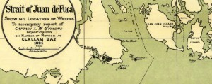 Map of the Strait of Juan de Fuca showing location of wrecks (1895) Map of the Strait of Juan de Fuca showing location of wrecks (1895) Date: 1894 Author: US Army Corps of Eng Dwnld: Full Size (6.50mb) Source: WSU Print Availability: See our Prints Page for more details pff This map isn't part of any series, but we have other maps of Seattle that you might want to check...