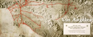 Relief map of territory served by lines of the Pacific Electric Railway. Largest electric railway system in the world. Pacific Electric map of Los Angeles (1920) Date: 1920 Author: unknown Dwnld: Full Size (8.68mb) Source: Flickr user jeremy! Print Availability: See our Prints Page for more details pff This map isn&#039;t part of any series, but we have other maps of Southern California that you might want to check out....