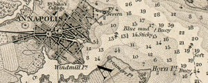 U.S. Coast Guard Survey of the Harbor of Annapolis, from 1846. The harbor of Annapolis Date: 1846 Author: United States Coast Survey Dwnld: Full Size (0.7mb) Print Availability: See our Prints Page for more details pff This map isn&#039;t part of any series, but we have other Maryland maps that you might want to check out. Bathymetric survey of the harbor of Annapolis&nbsp;[gmap], Maryland, the Severn River, and the Chesapeake...