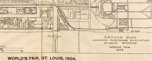 World's fair, St. Louis, 1904: ground plan Louisiana Purchase Exposition Map of the 1904 World's Fair in Forest Park, St Louis Date: 1904 Author: John Carson Dwnld: Full Size (11.67mb) Source: Library of Congress Print Availability: See our Prints Page for more details pff This map isn't part of any series, but we have other maps of World's Fairs that you might want to check out. This has exactly jack-shit...