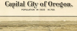 Capital city of Oregon, Salem Koppe's Birdseye Map of Salem, Oregon in 1905 Date: 1905 Author: Koppe Dwnld: Full Size (19.56mb) Source: Library of Congress Print Availability: See our Prints Page for more details pff This map isn't part of any series, but we have other maps of the Pacific Northwest that you might want to check out. A very nicely done birdseye map of Salem, Oregon [gmap] by a one-off...