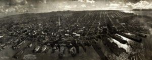 Photograph of San Francisco in ruins from Lawrence Captive Airship, 2000 feet above San Francisco Bay Lawrence&#039;s Kite Photo of Post-Earthquake San Francisco in 1906 Date: 1906 Author: George R Lawrence Dwnld: Full Size (11.41mb) Source: Library of Congress Print Availability: See our Prints Page for more details pff This map isn&#039;t part of any series, but we have other maps of San Francisco that you might want to check...