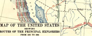 Map of the United States showing routes of principal explorers, from 1501 to 1844 Map of the United States showing routes of principal explorers, from 1501 to 1844 Date: 1907 Author: Bond Dwnld: Full Size (2.89mb) Source: Library of Congress Print Availability: See our Prints Page for more details pff This map isn&#039;t part of any series, but we have other maps of exploration that you might want to check...