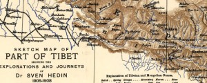 Sketch map of part of Tibet showing the explorations and journeys of Dr. Sven Hedin Map of Tibet Showing European Exploration (1909) Date: 1908 Author: Royal Geog Soc Dwnld: Full Size (6.57mb) Source: Library of Congress Print Availability: See our Prints Page for more details pff This map isn't part of any series, but we have other maps of exploration that you might want to check out. Swedish geographer and...