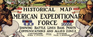 Historical map American Expeditionary Force WWI Map of the American Expeditionary Force (1932) Date: 1932 Author: Ezra C Stiles Dwnld: Full Size (11.39mb) Source: Library of Congress Print Availability: See our Prints Page for more details pff This map isn't part of any series, but we have other military maps that you might want to check out. Tomorrow is Armistice Day -- the 94th anniversary of the end of World...