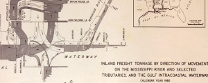 Inland freight tonnage by direction of movement on the Mississippi River and selected tributaries and the Gulf Intracoastal Waterway Inland Freight Tonnage on the Mississippi River in 1960 Date: 1960 Author: US Army Corps of Eng Dwnld: Full Size (8.47mb) Source: Library of Congress Print Availability: See our Prints Page for more details pff This map isn't part of any series, but we have other maps of the Mississippi River...