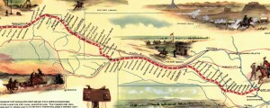 Pony express route April 3, 1860 - October 24, 1861 The Pony Express Route in 1960 Date: 1960 Author: William Henery Jackson Dwnld: Full Size (4.44mb) Source: Library of Congress Print Availability: See our Prints Page for more details pff This map isn't part of any series, but we have other maps of exploration that you might want to check out. Tomorrow is the 152nd anniversary of the first parcel...